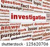 Investigation creative words message background. Data analysis poster design - stock photo