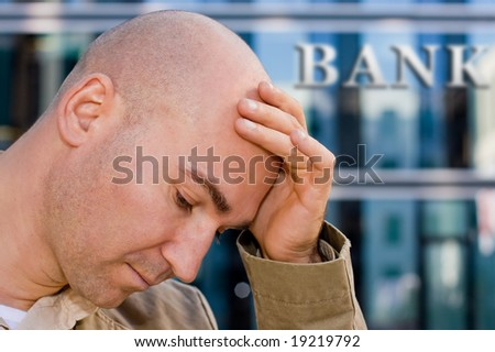 investment banker in despair - stock photo