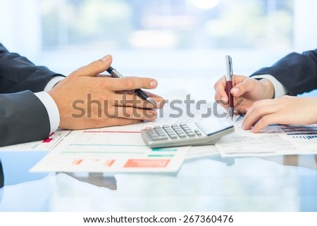 Investment, calculator, funds. - stock photo