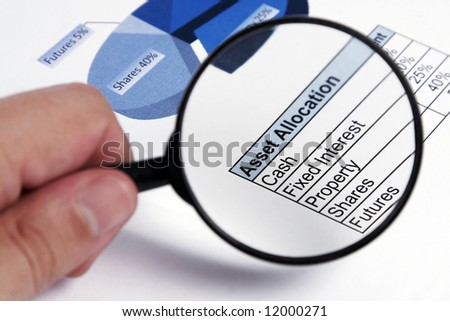 Investment Check - Loupe On Asset Allocation Chart, Focus On Text - stock photo