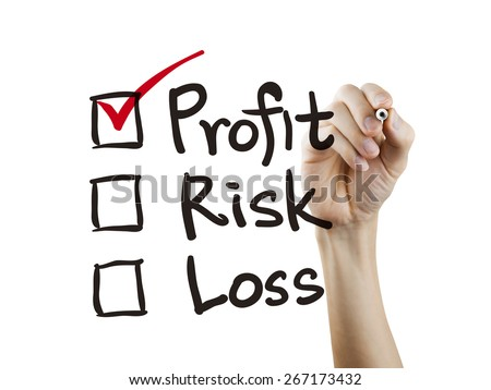 investment checklist checking by hand over white background
