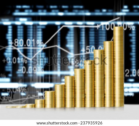 Investment concept, Coins graph stock market - stock photo