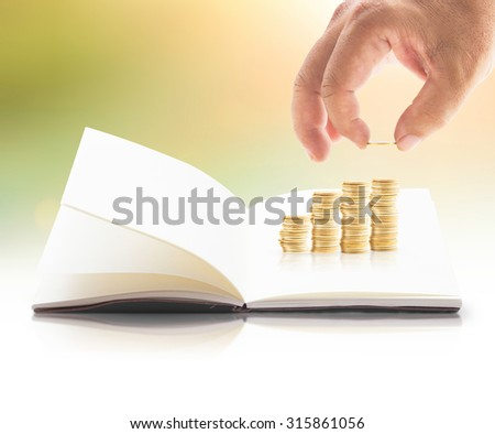 Investment concept. ROI Insurred Idea Market Bank CSR Trust Wealth Debt Hope Nature Dollar Seed Support Charity Treasure Safety Hand Value City Cash Grow Future Deposit Save Bonus Risk Book Index Gain - stock photo