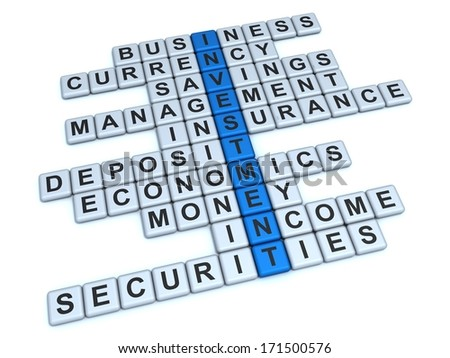 Investment Concept. Word Investment and related with it words: business, currency, savings, management, insurance, deposit, economics, money, income, securities on a white background.
