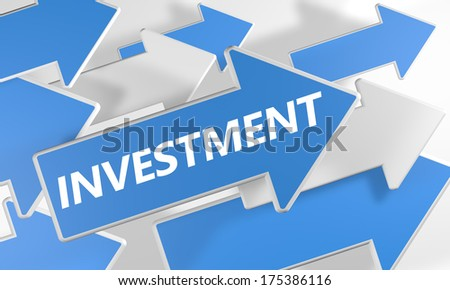 Investment 3d render concept with blue and white arrows flying over a white background. - stock photo