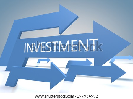Investment 3d render concept with blue arrows on a bluegrey background. - stock photo