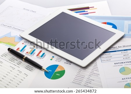 Investment, data, tablet. - stock photo