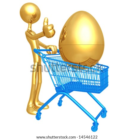 Investment Egg Shopping Cart - stock photo