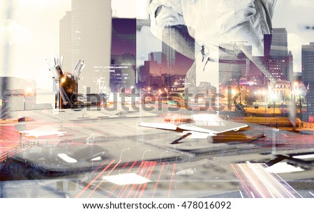 Investment manager working new private banking project office. Double exposure photo