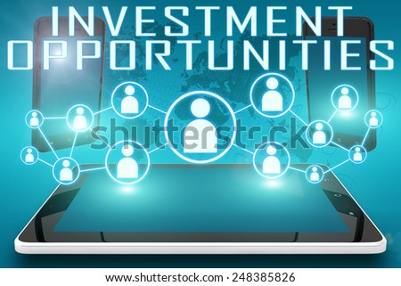 Investment Opportunities - text illustration with social icons and tablet computer and mobile cellphones on cyan digital world map background - stock photo