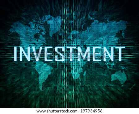 Investment text concept on green digital world map background  - stock photo