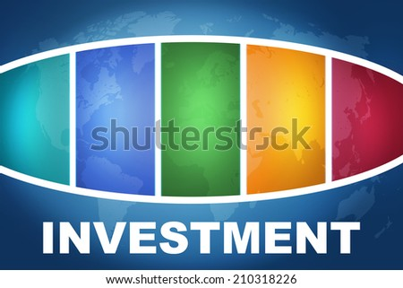 Investment text illustration concept on blue background with colorful world map - stock photo