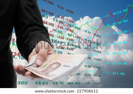 Investor make money from stock exchange - stock photo