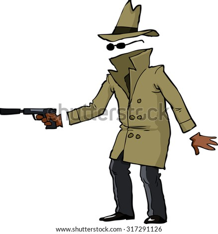 Invisible spy with a gun raster version - stock photo