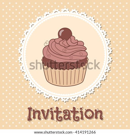 Invitation or greeting card template with hand drawn doodle cupcake and round lace frame on polka dot background. Retro style