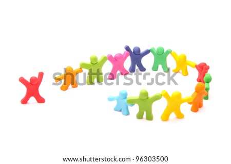 invitation - teamwork concept with colorful plasticine people - circle opens to welcome cheerful red fellow - stock photo