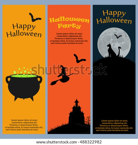 Invitation to a Halloween party. Vertical banner card set greeting card