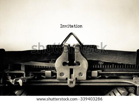 Invitation typed on a Vintage Typewriter.  - stock photo