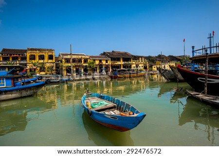 Invite friends traveling to Hoi An Vietnam - stock photo