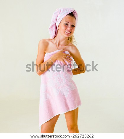Inviting Portrait After Shower  - stock photo