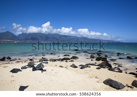 Inviting waters and beautiful beach on Maui, Hawaii - stock photo