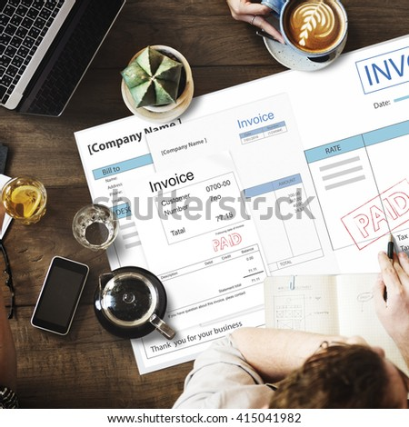 Invoice Bill Paid Payment Financial Account Concept - stock photo