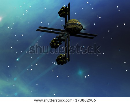 Ion Star-Craft - A star-ship from Earth with ion drive propulsion explores the cosmos. - stock photo