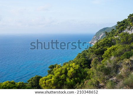 Ionian sea view from top of hills in Lefkada Greece - stock photo