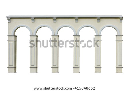 Ionic colonnade with five arch isolated on white background this has clipping path. - stock photo
