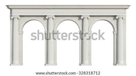 Ionic colonnade with three arch isolated on white - 3D Rendering - stock photo