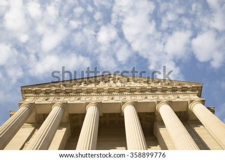 Ionic Column architecture in Washington DC. Copy place. Looks like arrow pointed to the sky - stock photo
