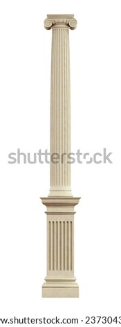 Ionic column on pedestal isolated on white - 3D Rendering  - stock photo