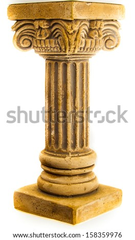 Ionic column on white background - stock photo