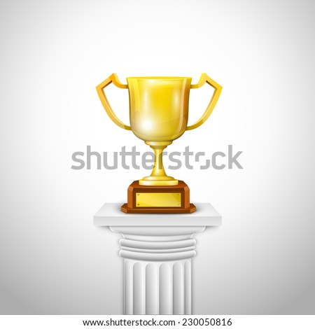 Ionic Column With Trophy Cup - stock photo