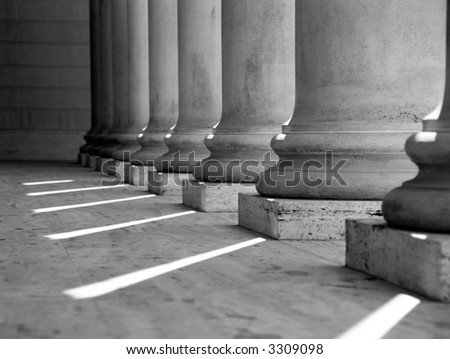 Ionic columns at Palace of the Legion of Honor in San Francisco (black and white). - stock photo