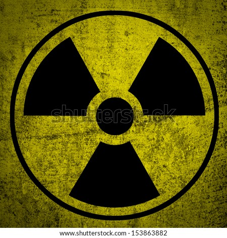 Ionizing radiation hazard symbol. - stock photo
