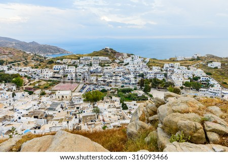 Ios island, Greece - MAY 28: Chora town in MAY 28, 2015, Ios island, Cyclades, Greece.