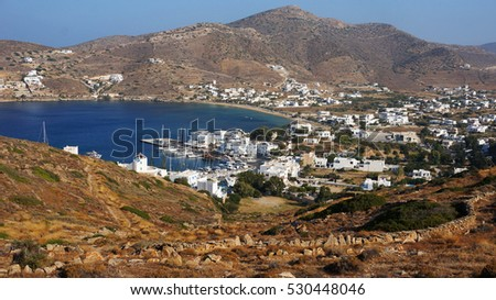 Ios traditional island, view from picturesque small church to the port, Cyclades, Greece