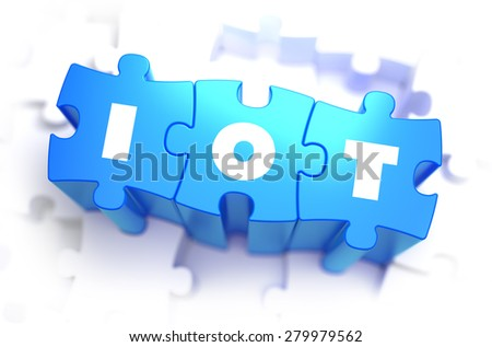 IOT -  Internet of Thing - Text on Blue Puzzles on White Background. 3D Render.  - stock photo