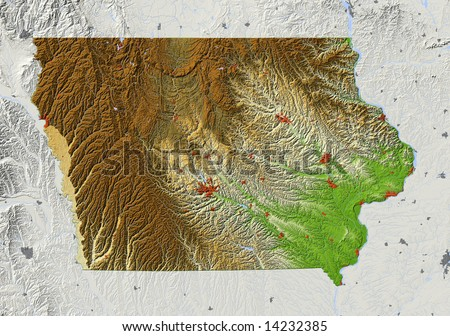 Iowa. Shaded relief map, with major urban areas, surrounding territory greyed out. Colored according to elevation. Clipping path for the state area included. Data sources: US Census Bureau, NASA - stock photo