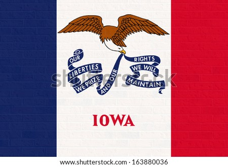 Iowa state flag of America, isolated on white background. - stock photo