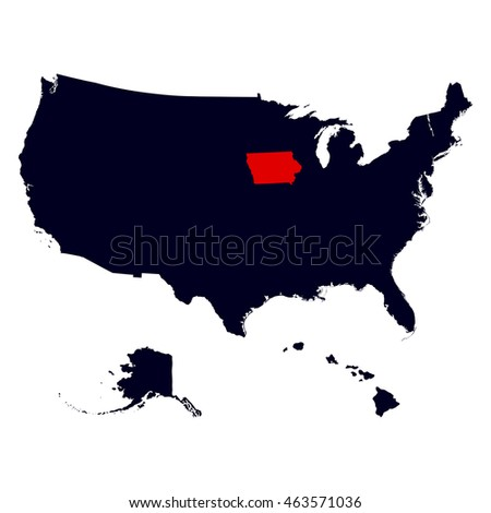 Iowa State in the United States map