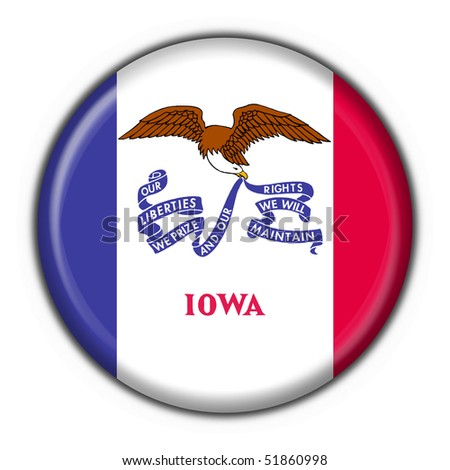 Iowa (USA State) button flag round shape - stock photo