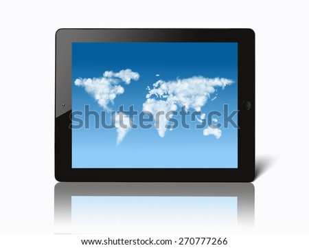ipad with world map made of clouds on screen isolated on white background - stock photo
