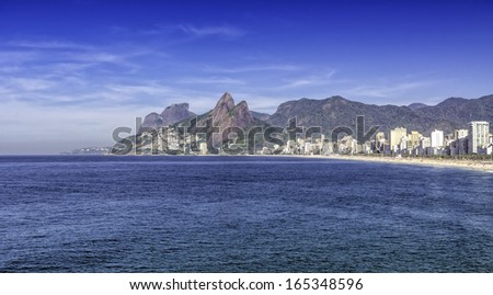 Ipanema beach in the morning, Rio de Janeiro - Brazil - stock photo