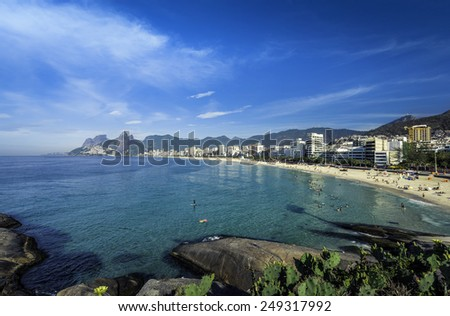 Ipanema Beach on hot sunny summer day in Rio de Janeiro,Brazil - stock photo