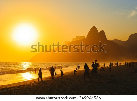 Ipanema Sunset in Rio de Janeiro - stock photo
