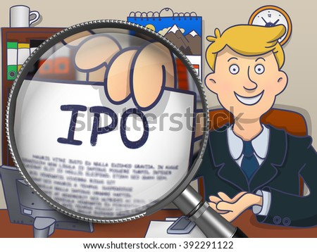 IPO - Initial Public Offering - on Paper in Mans Hand through Magnifying Glass to Illustrate a Business Concept. Multicolor Modern Line Illustration in Doodle Style. - stock photo