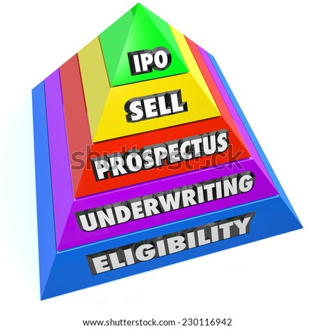 IPO words on a pyramid of steps including Eligibility, Underwriting, Prospectus and Sell on the way to an Initial Public Offering - stock photo