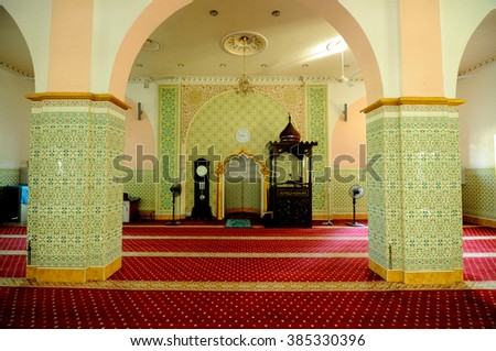 IPOH, MALAYSIA - JUNE 01, 2015: Interior of Indian Muslim Mosque in Ipoh, Perak, Malaysia on June 01, 2015. The mosque was built in 1908 also known as Town Padang Mosque.   - stock photo